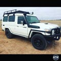 Landcruiser Troopy fitted with Fuel Offroad Sledge wheels and Toyo RT 4x4 tyres
